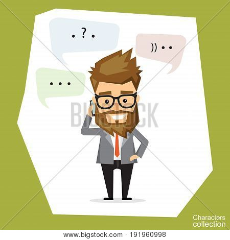 Handsome bearded businessman in classic suit is talking on the mobile phone. Dialog bubble for communication.