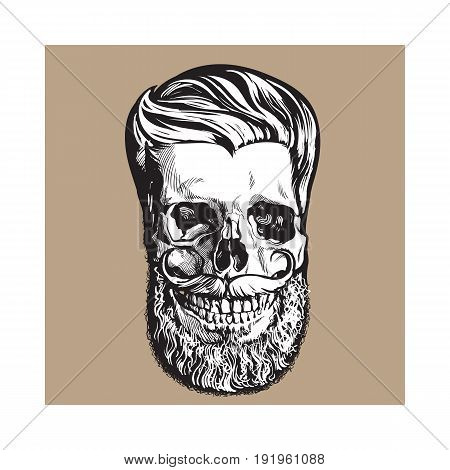Hand drawn human skull with hipster hairdo, beard and moustache, black and white sketch style vector illustration isolated on brown background. Hand drawing of human skull with hipster hair