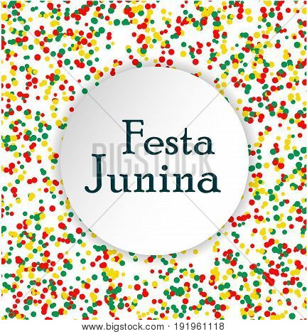 Festa Junina Brasil festival. Pattern made of colored dots. Red yellow and green confetti for carnival backdrop design element. Vector illustration