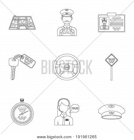 Set of icons about the taxi. A call taxi driver, Parking. Transportation around the city.Taxi icon in set collection on outline style vector symbol stock web illustration.
