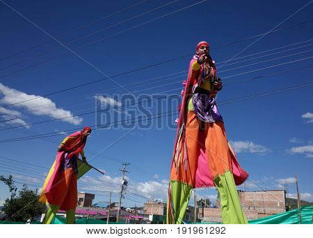 5TH JANUARY 2015 CHICHAGUÍ COLOMBIA - people in traditional costume taking part in the celebrations at the Carnival de Blancos y Negros (Blacks and White Carnival) in Chichaguí near Pasto in Colombia