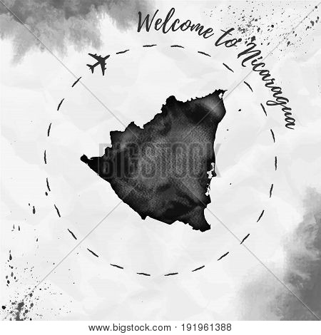 Nicaragua Watercolor Map In Black Colors. Welcome To Nicaragua Poster With Airplane Trace And Handpa