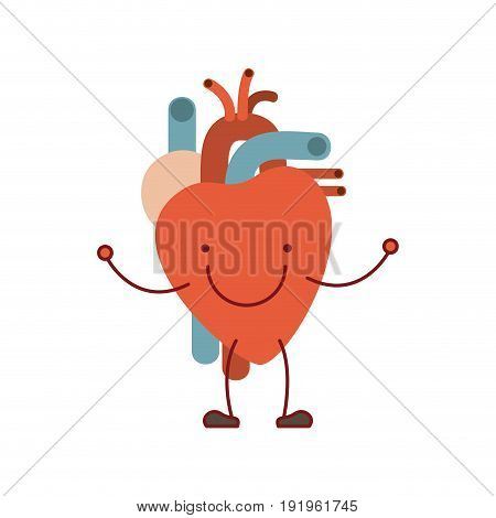 colorful silhouette caricature with happy face circulatory system with heart vector illustration