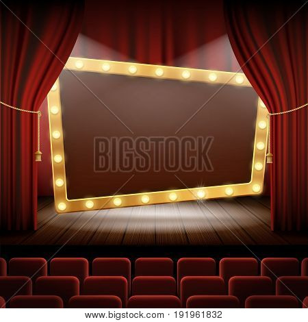 Banner with light bulbs on the stage of the cinema. Performance and presentation. Stock vector illustration.