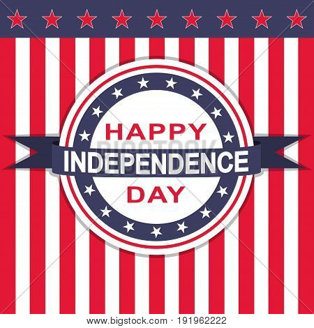 Happy Independence Day background with stars and stripes. Vector illustration.