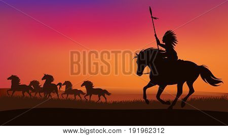wild west scene with north american indian chasing herd of mustang horses - vector sunset landscape