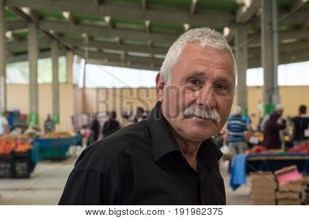 Eskisehir, Turkey - June 15, 2017: Portrait Of An Old Man With Black Shirt In Traditional Typical Tu