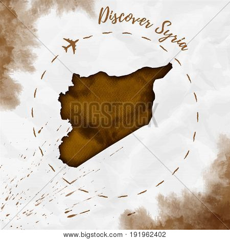 Syria Watercolor Map In Sepia Colors. Discover Syria Poster With Airplane Trace And Handpainted Wate
