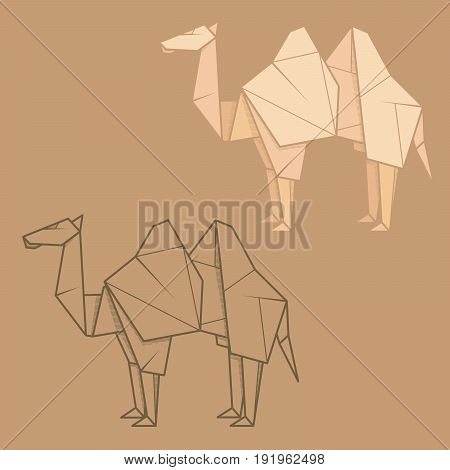 Set vector simple illustration paper origami and contour drawing of camel.