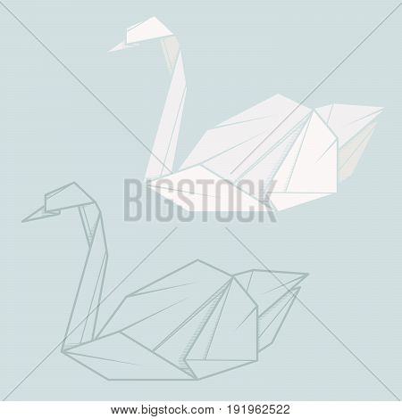 Set vector simple illustration paper origami and contour drawing of swan.