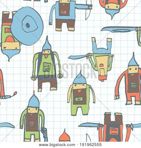 Hero Seamless Pattern. Attractive Child's Drawing With School Pen. Cute Hero Hand Drawn With Color O