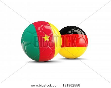 Two Footballs With Flags Of Cameroon And Germany Isolated On White