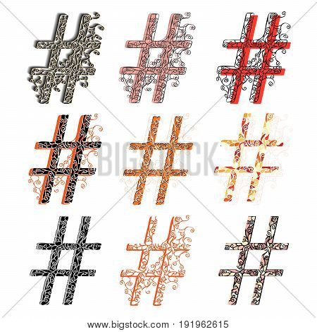 Set of variations fishnet (lace) figures # (hash sign ).