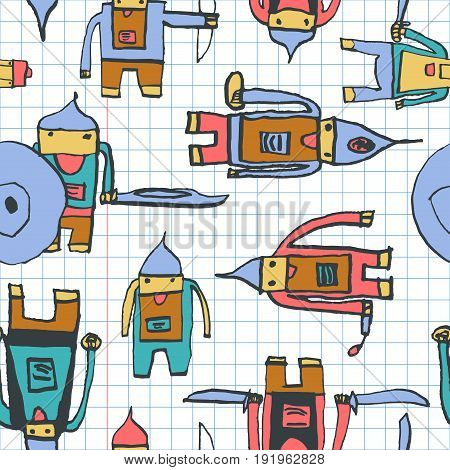 Hero Seamless Pattern. Alluring Child's Drawing With School Pen. Cute Hero Hand Drawn With Colorful