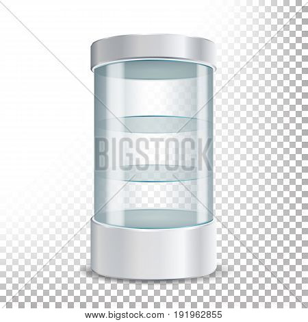 Empty Glass Showcase Vector. Realistic Round Showcase For Exhibit With Shelves.Shop Expo Cylinder. Isolated On Transparent Background