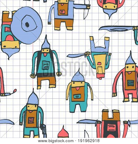 Hero Seamless Pattern. Uncommon Child's Drawing With School Pen. Cute Hero Hand Drawn With Colorful