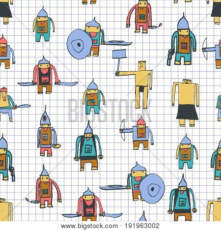 Hero Seamless Pattern. Rare Child's Drawing With School Pen. Cute Hero Hand Drawn With Colorful On M