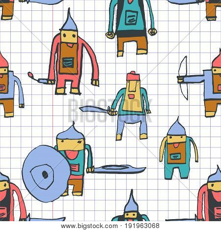 Hero Seamless Pattern. Remarkable Child's Drawing With School Pen. Cute Hero Hand Drawn With Colorfu
