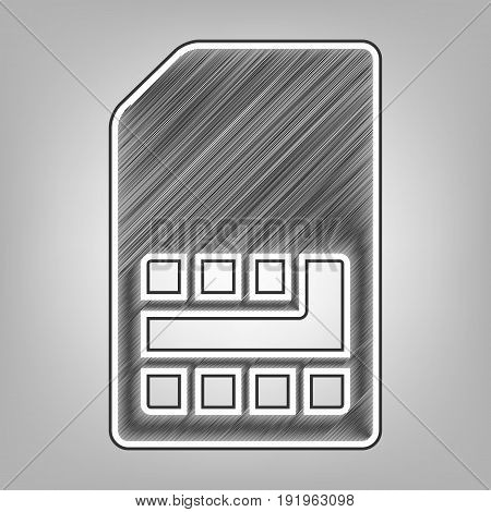 Sim card sign. Vector. Pencil sketch imitation. Dark gray scribble icon with dark gray outer contour at gray background.