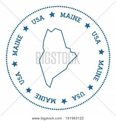 Maine Vector Map Sticker. Hipster And Retro Style Badge With Maine Map. Minimalistic Insignia With R