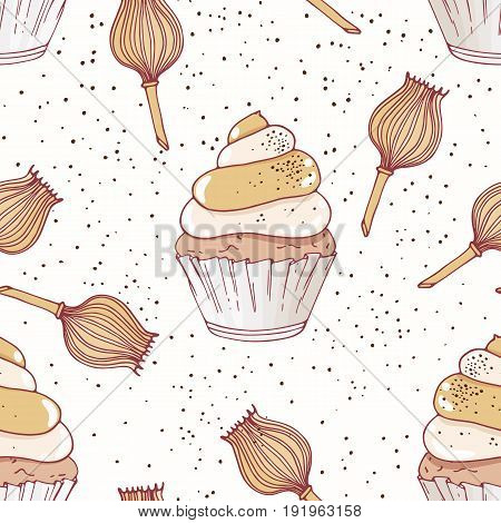 Hand drawn seamless pattern with doodle cupcake and poppy buttercream. Food background. Vector illustration