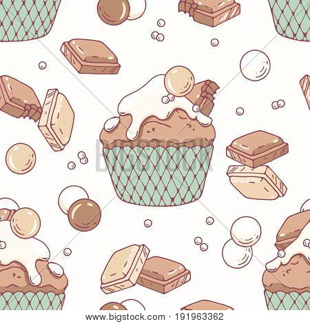 Hand drawn seamless pattern with doodle cupcake and white milk chocolate buttercream. Food background. Vector illustration