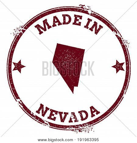Nevada Vector Seal. Vintage Usa State Map Stamp. Grunge Rubber Stamp With Made In Nevada Text And Us