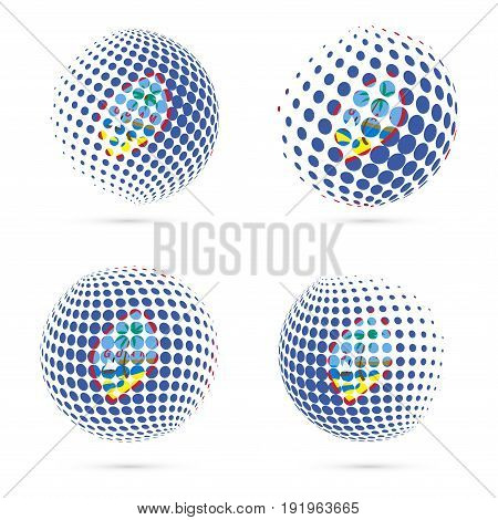 Guam Halftone Flag Set Patriotic Vector Design. 3D Halftone Sphere In Guam National Flag Colors Isol