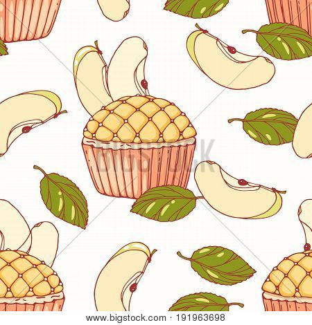 Hand drawn seamless pattern with doodle apple pie cupcake and buttercream. Food background. Vector illustration