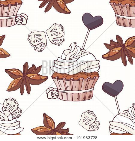 Hand drawn seamless pattern with doodle cupcake, stars of anise, licorice candy and buttercream. Food background. Vector illustration