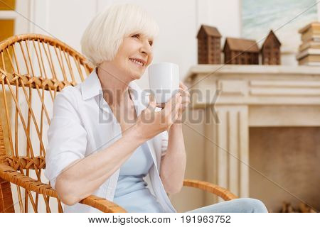Comfort and relaxation. Charmin excited senior woman holding up a cup with hot drink and sitting in a chair while enjoying quietness