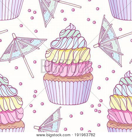 Hand drawn seamless pattern with doodle rainbow cupcake and buttercream. Food background. Vector illustration