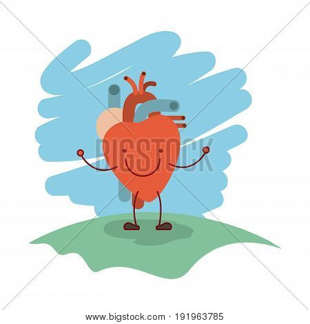 colorful scene in grass with silhouette caricature happy face heart system human body vector illustration