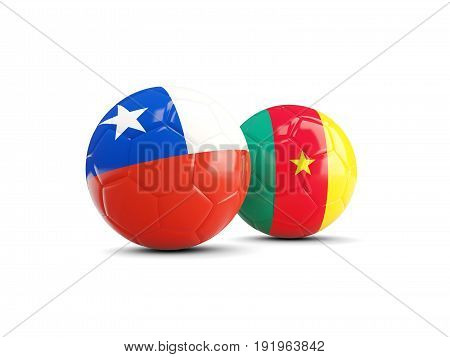 Two Footballs With Flags Of Chile And Cameroon Isolated On White