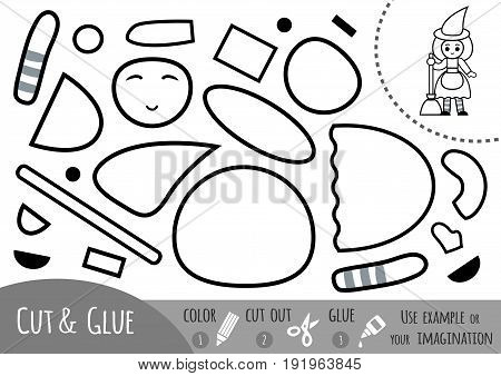 Education paper game for children Witch. Use scissors and glue to create the image.