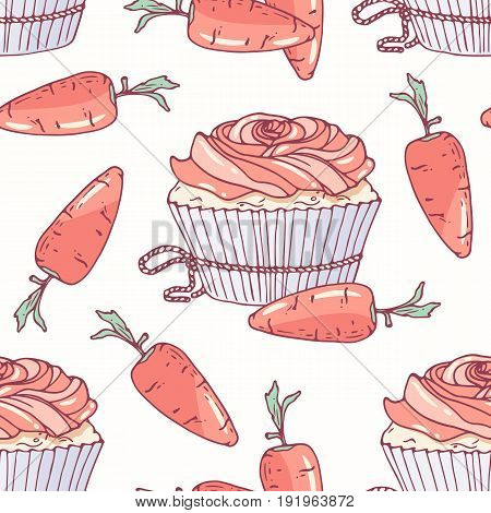 Hand drawn seamless pattern with doodle cupcake and carrot buttercream. Food background. Vector illustration