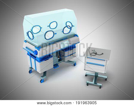 Incubator For Children Blue 3D Rendering On Gray Background