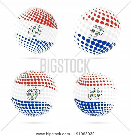 Paraguay Halftone Flag Set Patriotic Vector Design. 3D Halftone Sphere In Paraguay National Flag Col