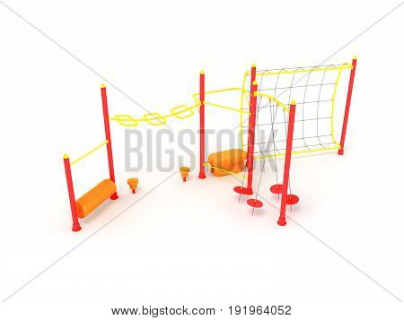 Playground 3d render on white background close up