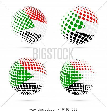 Sudan Halftone Flag Set Patriotic Vector Design. 3D Halftone Sphere In Sudan National Flag Colors Is