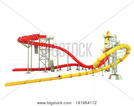 Water Park Water Rides 3D Render On White Background No Shadow