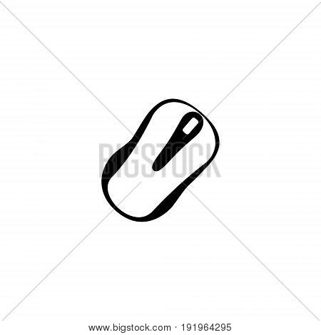 Vector illustration of a computer mouse painted top view at an angle of forty-five degrees black and white in the center of the picture on a white background.