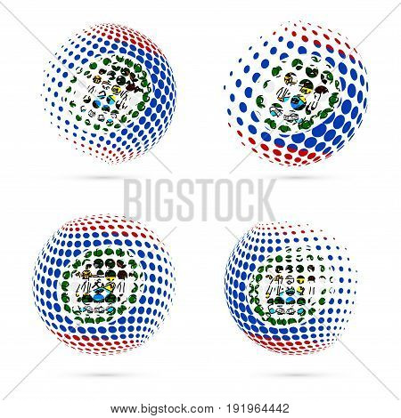 Belize Halftone Flag Set Patriotic Vector Design. 3D Halftone Sphere In Belize National Flag Colors