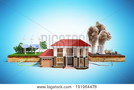 The Concept Of Ecologically Clean Energy The House Is Connected To Solar Panels And Weather Vanes In