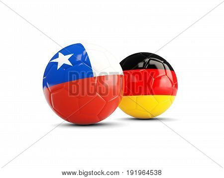 Two Footballs With Flags Of Chile And Germany Isolated On White