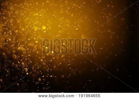 Bokeh Light Gold Color Black Background