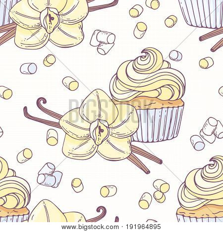 Hand drawn seamless pattern with vanilla cupcake and doodle buttercream. Food background. Vector illustration