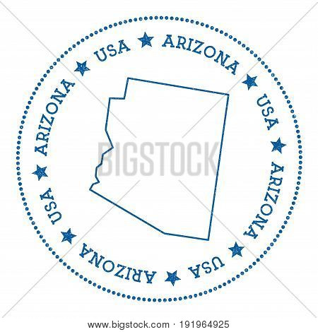Arizona Vector Map Sticker. Hipster And Retro Style Badge With Arizona Map. Minimalistic Insignia Wi