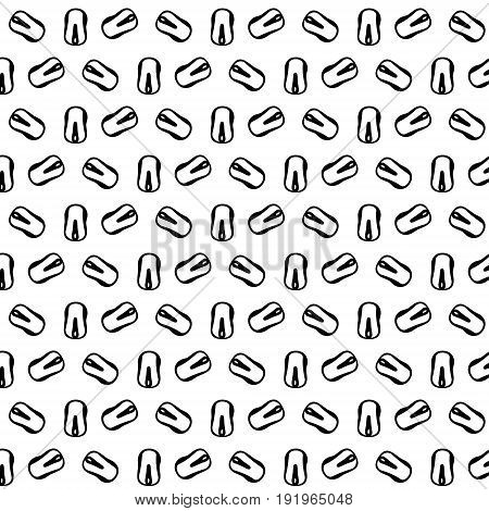 Vector illustration seamless pattern of many painted computer mice arranged in different angles on a white background