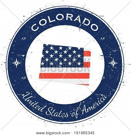 Colorado Circular Patriotic Badge. Grunge Rubber Stamp With Usa State Flag, Map And The Colorado Wri